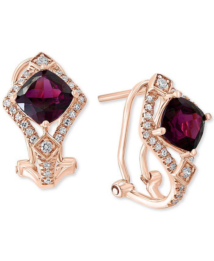 LALI Jewels - Rhodolite Garnet (2-1/2 ct. t.w.) & Diamond (1/4 ct. t.w.) Drop Earrings in 14k Rose Gold