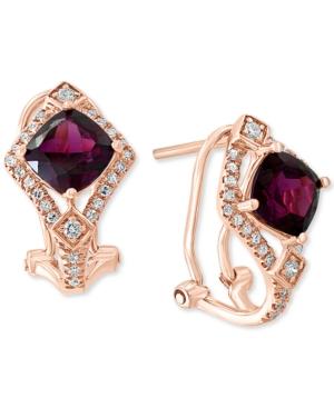 Rhodolite Garnet (2-1/2 ct. t.w.) & Diamond (1/4 ct. t.w.) Drop Earrings in 14k Rose Gold