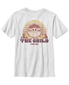 Star Wars The Mandalorian Big Boys The Child Retro Line Portrait Short Sleeve T-shirt