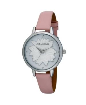 Women's Flower Dial Pink Polyurethane Strap Watch 38mm