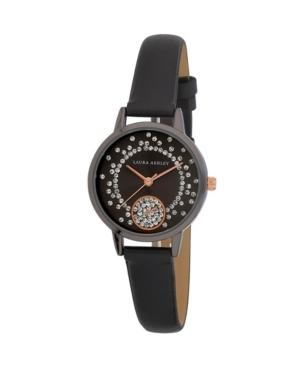 Women's Spray Crystal Dial Black Polyurethane Strap Watch 32mm