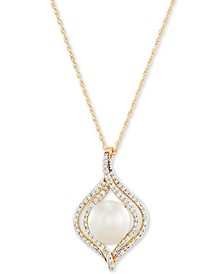 "Cultured Freshwater Pearl (8mm) & Diamond (1/4 ct. t.w.) 18"" Pendant Necklace in 14k Gold"