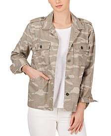 Cotton Camo-Print Boyfriend Jacket
