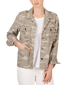Cotton Camo-Print Boyfriend Jacket