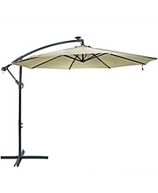 10' Offset Cantilever Solar Patio Umbrella with LED Lights Crank and Cross Base