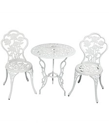 3-Piece Flower Designed Bistro Table Set with 2 Chairs