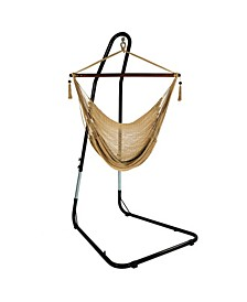 Hanging Rope Hammock Chair Swing with Adjustable Stand Extra Large