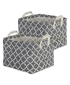 Polyethylene Coated Cotton Polyester Laundry Bin Lattice Rectangle Extra Large Set of 2