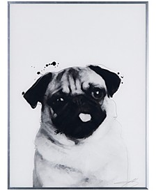 """Pug Pet Paintings on Reverse Printed Glass Encased with a Gunmetal Anodized Frame Wall Art, 24"""" x 18"""" x 1"""""""