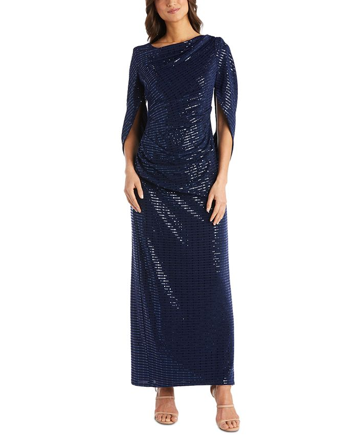R & M Richards - Sequined Draped-Back Gown