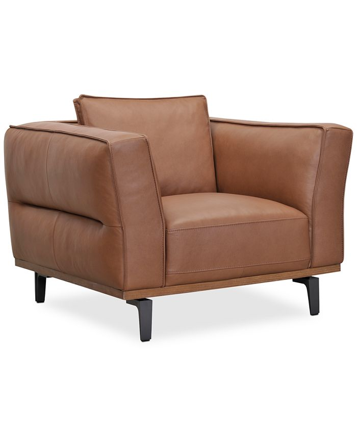 """Furniture - Aubreeze 41"""" Leather Accent Chair"""