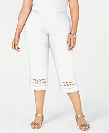 Plus Size Crochet-Trim Capri Pants, Created for Macy's