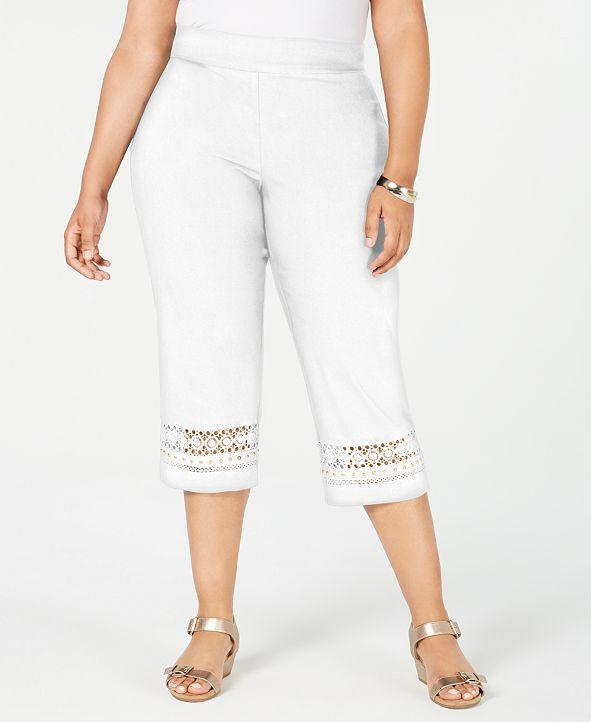 JM Collection Plus Size Crochet-Trim Capri Pants, Created for Macy's