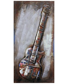 """Electric Guitar Mixed Media Iron Hand Painted Dimensional Wall Art, 48"""" x 24"""" x 2.8"""""""