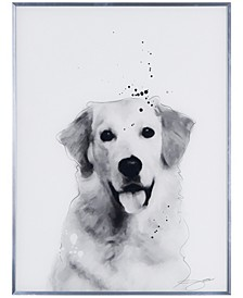 """Golden Retriever Pet Paintings on Reverse Printed Glass Encased with a Gunmetal Anodized Frame Wall Art, 24"""" x 18"""" x 1"""""""