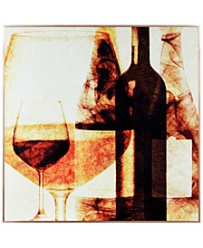 "Wine Bottles 1 on Reverse Printed Art Glass and Anodized Aluminum Frame Wall Art, 32"" x 32"" x 1"""