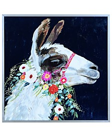 "White Lama on Reverse Printed Art Glass and Anodized Aluminum Frame Wall Art, 16"" x 16"" x 1"""