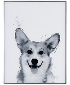 "Corgi Pet Paintings on Reverse Printed Glass Encased with a Gunmetal Anodized Frame Wall Art, 24"" x 18"" x 1"""