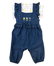 Baby Girl 2-Piece Chambray Overall Set