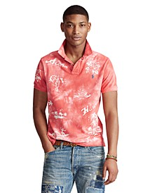 폴로 랄프로렌 Polo Ralph Lauren Mens Classic-Fit Hawaiian Polo Shirt,Evening Post Red Print