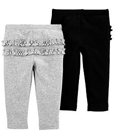Baby Girls 2-Pk. Cotton Ruffled-Trim Pants