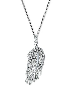"""Cubic Zirconia Feather 18"""" Pendant Necklace in Sterling Silver, Created for Macy's"""