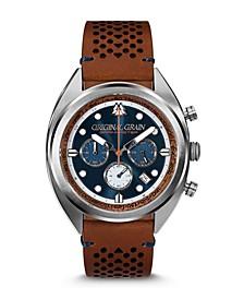 Men's Grainmaster Mahogany Genuine Leather Strap Watch 45mm