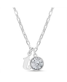 "Women's Silver-Tone Rhinestone ""T"" Initial Necklace"
