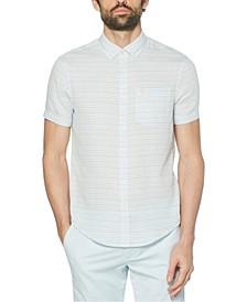 Men's Printed Stripe Woven Short Sleeve Shirt