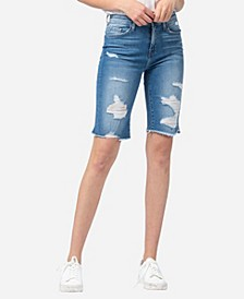 High Rise Raw Hem Bermuda Shorts