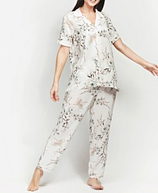 Ultra Soft Floral Classic Short Sleeve Cropped Pajama Set