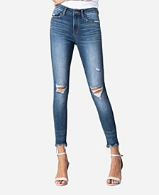 Mid Rise Raw Hem Skinny Ankle Jeans