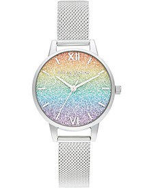 Women's Rainbow Stainless Steel Mesh Bracelet Watch 30mm