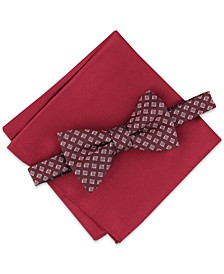 Men's Geo Bow Tie & Solid Pocket Square Set, Created for Macy's