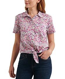 Floral-Print Tie-Hem Shirt
