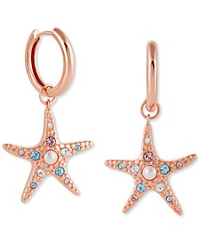 Imitation Pearl & Swarovski Crystal Starfish Drop Earrings in Rose Gold-Plated Sterling Silver