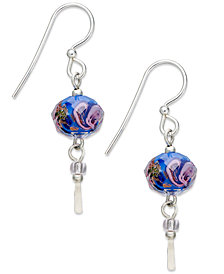 Jody Coyote Sterling Silver Earrings, Blue Flower Bead Drop Earrings