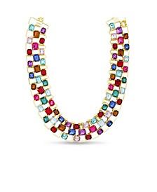 Rhinestone Baguette Bib Necklace