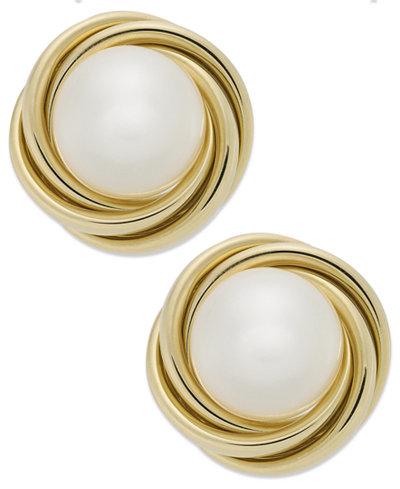 14k Gold Earrings, Cultured Freshwater Pearl (8mm) Love Knot Earrings