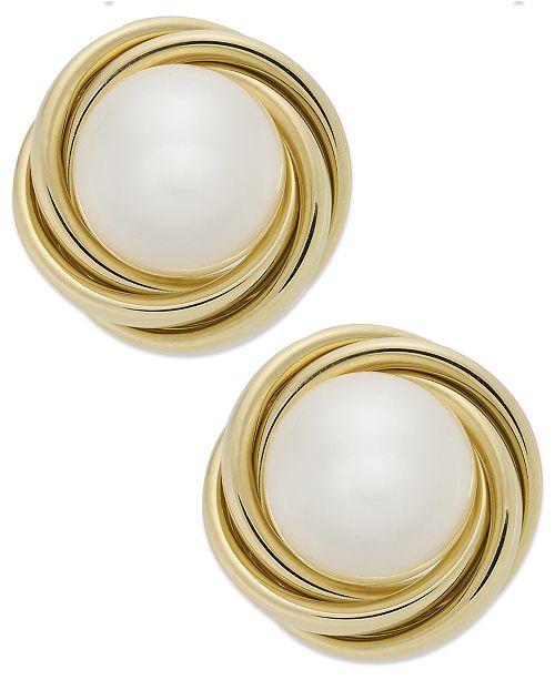 Macy's 14k Gold Earrings, Cultured Freshwater Pearl (8mm) Love Knot Earrings