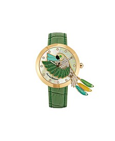 Women's Love Parrot Tail Feather Green Leather Strap Watch, 40mm