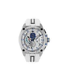Men's Barracuda Bay Dual Time Sport White Silicone Strap Watch, 49mm