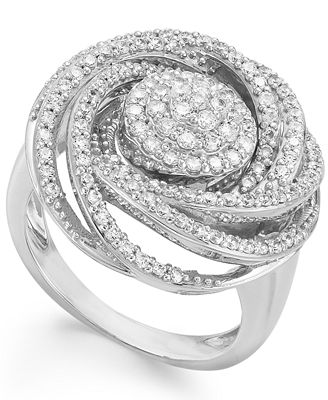 Wrapped in Love™ Diamond Ring, Sterling Silver Diamond Pave Ring (1 ct. t.w.)