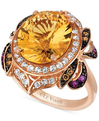Le Vian Multi-Stone (6-3/4 ct. t.w.) and Chocolate Diamond (1/8 ct. t.w.) Oval- and Round-cut Ring in 14k Rose Gold