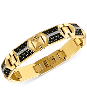 Diamond Bracelet (1/4 ct. t.w.) in Black Carbon Fiber & Gold-Tone Ion-Plated Stainless Steel