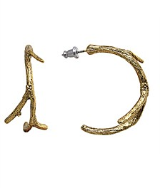by 1928 Matte 14 K Gold Dipped Small Tree Branch Hoop Earring