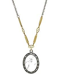 by 1928 Silver Tone Genuine White Howlite Oval Necklace