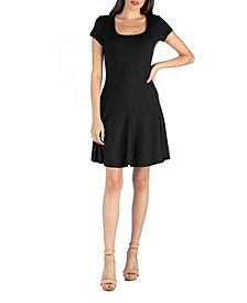 Cap Sleeve Knee Length Mini Dress with Godets