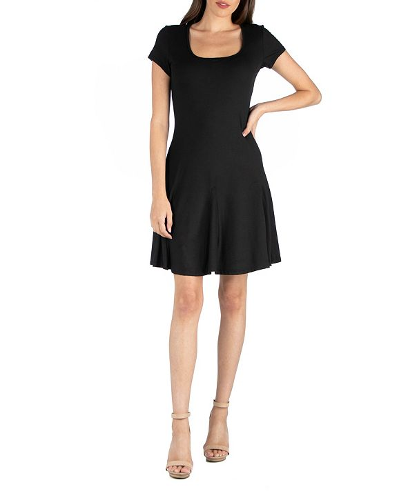 24seven Comfort Apparel Cap Sleeve Knee Length Mini Dress with Godets