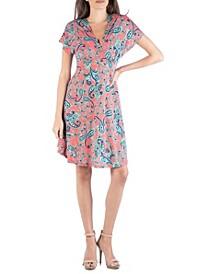 Paisley V-Neck Cap Sleeve Empire Waist A-Line Dress